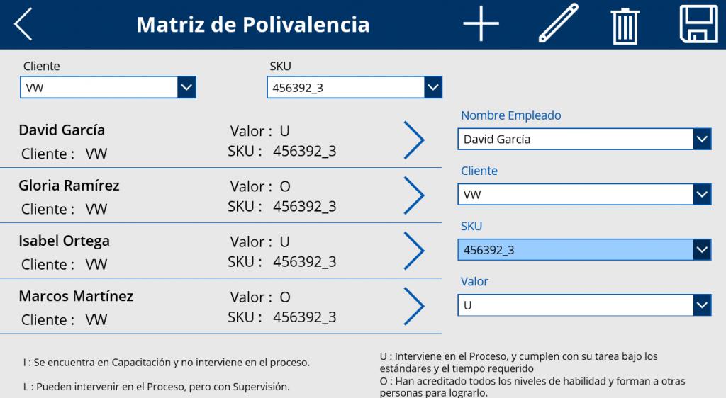 PowerApps Matriz Polivalencia
